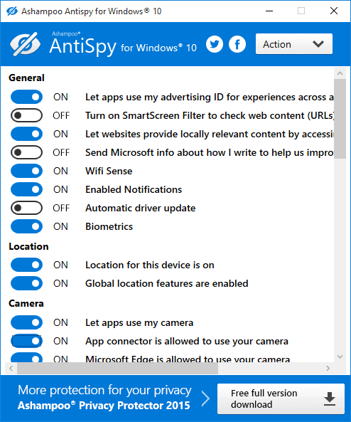 Download Ashampoo AntiSpy for Windows 10 Latest Free 2018 Version