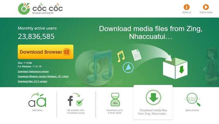 Download Côc Côc Free Web Browser - Start 8 Times Faster