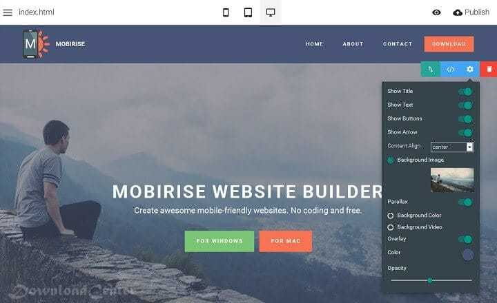Download Mobirise to Create Free Websites for Windows and Mac