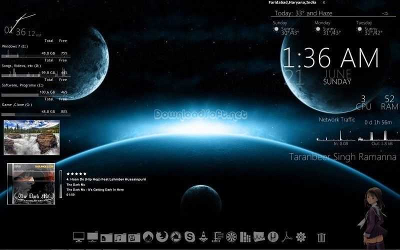Download Rainmeter Display Customizable Skins on Desktop